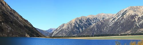 Lake Pearson New Zealand Panorama Royalty Free Stock Photography