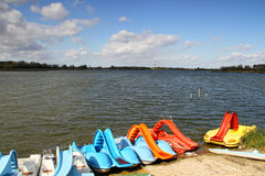 Lake with pedal boats Stock Photo