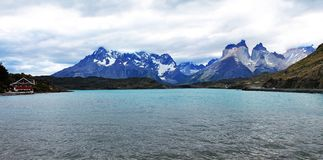 Lake Pehoé and Cordillera Paine Panoramic View, Chile stock photography