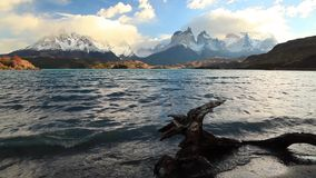 Lake Pehoe at dawn. Torres del Paine, Chile stock footage