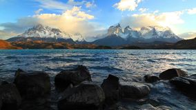 Lake Pehoe at dawn. Torres del Paine, Chile, stock footage