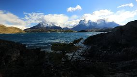 Lake Pehoe at dawn. Torres del Paine, Chile stock video footage
