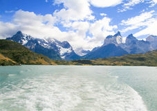Lake Pehoe and Los Cuernos in Torres del Paine National Park in. Patagonia, Chile stock photography