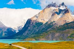 Lake Pehoe, Torres del Paine National Park, Patagonia, Chile, South America. Copy space for text.  stock images