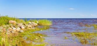 Lake Peipsi in Estonia. Shore of lake Peipsi in Eastern Estonia. Chudskoye is large freshwater lake with rich history, where occurred famous battle of Ice. Huge Stock Photos