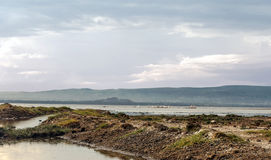 Lake with pelicans. Lake of Kenia with pelicans and mountains in the background in a cloudy day Stock Photo