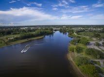 Lake in Pembroke Pines Florida. Aerial view of lake in Pembroke Pines Florida Stock Images