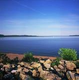 Lake Pepin - Minnesota. Summer vista on scenic Lake Pepin in Lake City, Minnesota Stock Images