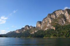 Lake with Perfect Sky at Khaosok National Park Royalty Free Stock Photo