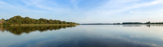 Lake Perhovo. Lake landscape (panorama) with views of the distant shore Royalty Free Stock Image