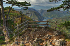 Lake Perucac view above from viewpoint Banjska Stena, mountain Tara, Western Serbia  Stock Photo