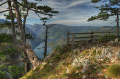Lake Perucac view above from viewpoint Banjska Stena, mountain Tara, Western Serbia   Royalty Free Stock Photo