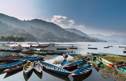 Lake Phewa, Pokhara, Nepal. Royalty Free Stock Photo