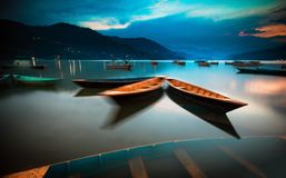 Lake Phewa, Pokhara, Nepal. Colorful boats on Lake Phewa, Pokhara, Nepal stock photos