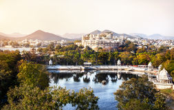 Lake Pichola and City Palace in India Royalty Free Stock Image