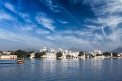 Lake Pichola, Udaipur with tourist boat, Rajasthan, India Royalty Free Stock Photo