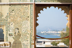 Lake Pichola through window of City Palace, Udaipur Stock Photo
