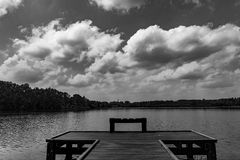Lake with pier stock photography