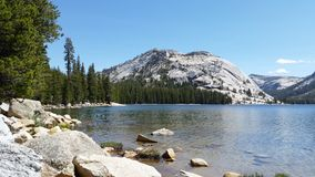 Lake, pines and snow in Yosemite Royalty Free Stock Photography