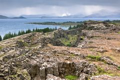 Lake in Pingvellir national park, Iceland. Royalty Free Stock Image
