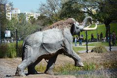 Lake Pit at the La Brea Tar Pits. LOS ANGELES - MARCH 28, 2018: Lake Pit at the La Brea Tar Pits.  Pleistocene mammoth statues depict how animals became trapped Stock Images