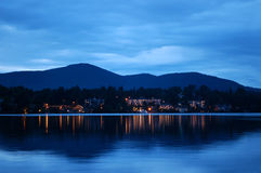 Lake Placid alla notte Fotografia Stock