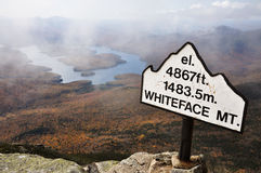 Lake Placid en Berg Whiteface Royalty-vrije Stock Foto