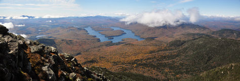 Lake Placid et panorama de montagne de Whiteface Photos stock