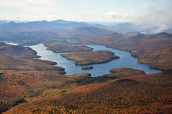 Lake Placid in fall. Lake Placid view from top of Whiteface Mountain in fall, Adirondack Mountain, New York State, USA Royalty Free Stock Photo