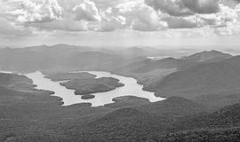 Lake Placid New York in black and white Royalty Free Stock Photo