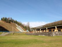 Ski jump training area. Lake Placid, New York, USA. November 4, 2017. The training center at the Olympic Ski Jump Complex in Lake Placid , New York Stock Photos