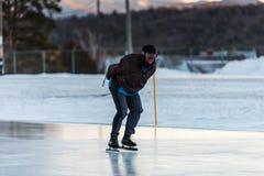 Speed Skating - James B. Sheffield Olympic Skating Rink. Lake Placid, NY / USA / March 3, 2016: The James B. Sheffield Olympic Skating Rink is an artificial ice Stock Photos