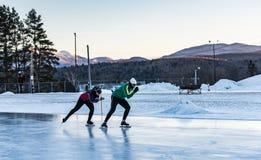 Tandem Speed Skating - James B. Sheffield Olympic Skating Rink. Lake Placid, NY / USA / March 3, 2016: The James B. Sheffield Olympic Skating Rink is an Stock Image