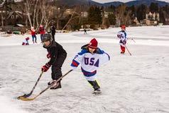 Hockey Practice on Mirror Lake royalty free stock photography