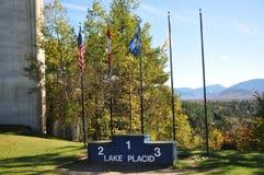 Lake Placid-olympisches Meister-Podium, New York Stockbild