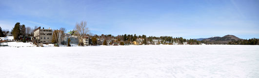 Lake Placid paronama in winter, Adirondacks Royalty Free Stock Image