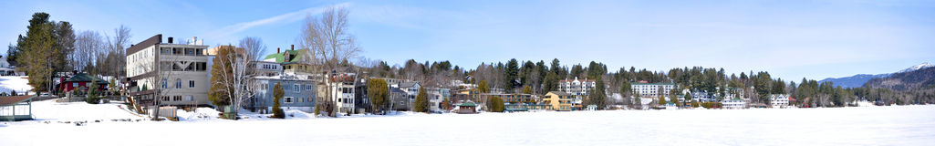 Lake Placid paronama in winter, Adirondacks Stock Photography