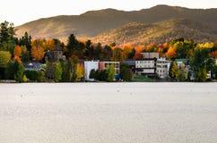 Lake Placid przy zmierzchem w jesieni Zdjęcie Royalty Free