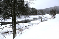 Lake Placid river in winter Stock Photos