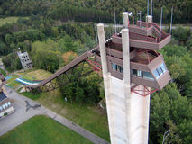 Lake Placid Ski Jumps in Summer. Lake Placid is a place of 1932 and 1980 Winter Olympic Game Stock Images