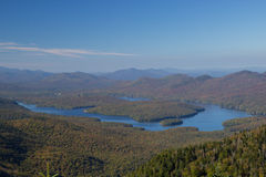 Lake Placid view from top of Whiteface Mountain Stock Photos