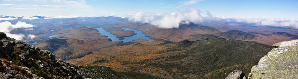 Lake Placid and Whiteface Mountain panorama Royalty Free Stock Photography