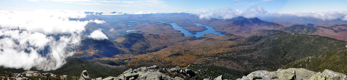 Lake Placid and Whiteface Mountain panorama. Lake Placid panorama view from top of Whiteface Mountain in fall, Adirondack Mountain, New York State, USA Royalty Free Stock Photo