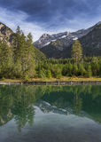 Lake Plansee in Austria with panorama of the Alps Stock Photography