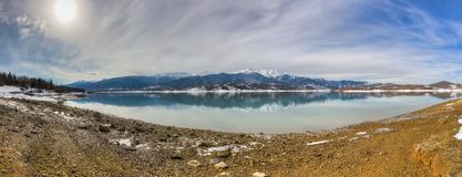 Lake Plastiras panorama, Thessaly, Greece Royalty Free Stock Images