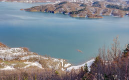 Lake Plastiras view in the winter, Thessaly, Greece Royalty Free Stock Photography