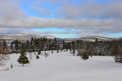 Lake Pleasant Golf Course in winter. Snow covered golf course in the Adirondack Mountains closed for the winter Royalty Free Stock Photography