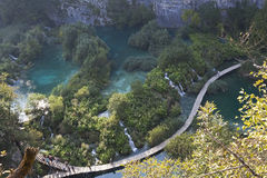 Lake plitvice boardwalks from above Royalty Free Stock Photo