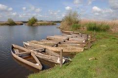lake połowowego drewniane łódki Obrazy Royalty Free