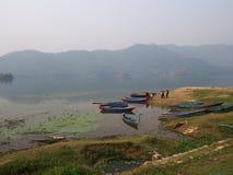 Lake pokhara. Landscape and boats Stock Image